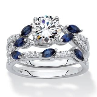2.63 TCW CZ & Sapphire Platinum/.925 Ring Set