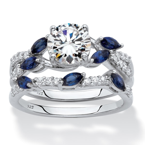 Platinum over Sterling Silver Cubic Zirconia with Sapphire Bridal Set - Blue/White