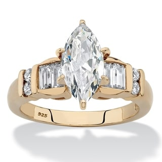 Yellow Gold Over Sterling Silver Cubic Zirconia Engagement Ring 14k White