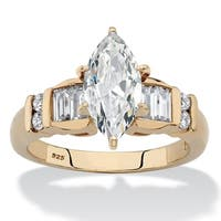 Yellow Gold over Sterling Silver Cubic Zirconia Engagement Ring - 14k/White