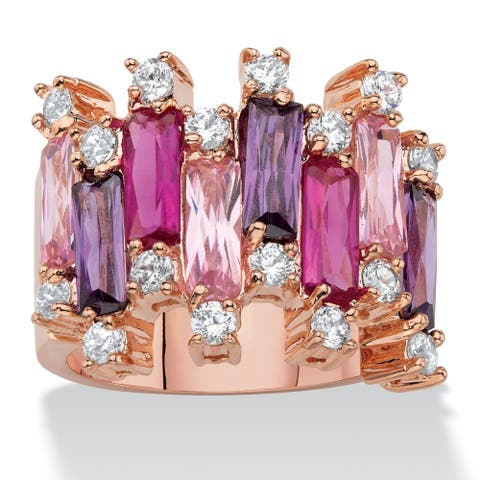 Rose Gold-Plated Multi-color Cubic Zirconia Vertical Row Cluster Ring - Pink/Purple/Red - Pink/Purple/Red