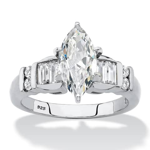 Platinum over Sterling Silver Cubic Zirconia Engagement Ring - White