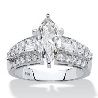 2.61 TCW CZ Platinum over Silver Engagement Ring