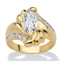 Yellow Gold-Plated Cubic Zirconia Bypass Swirl Ring - 14k/White
