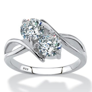 1.96 TCW CZ .925 Sterling Silver 2-Stone Ring