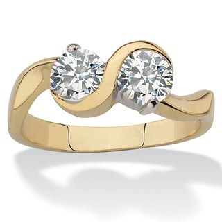 1.60 TCW CZ Gold-Plated 2-Stone Bypass Ring