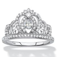 .61 TCW CZ .925 Sterling Silver Crown Ring