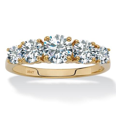 10K Yellow Gold Cubic Zirconia Ring - White