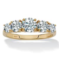 10K Yellow Gold Cubic Zirconia Ring - White