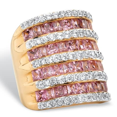 Yellow Gold-Plated Cubic Zirconia Channel Set Ring - Pink/White - Pink/White