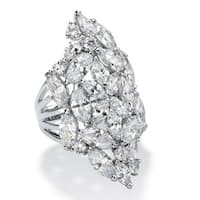 9.30 TCW Marquise-Cut CZ Silvertone Cluster Ring