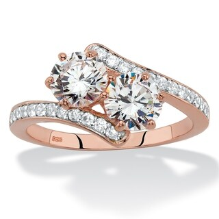 2.20 TCW CZ Rose GP Silver 2-Stone Bypass Ring
