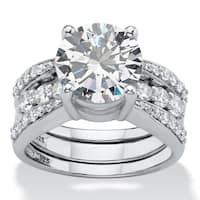 Platinum over Sterling Silver Cubic Zirconia Bridal Ring Set /White