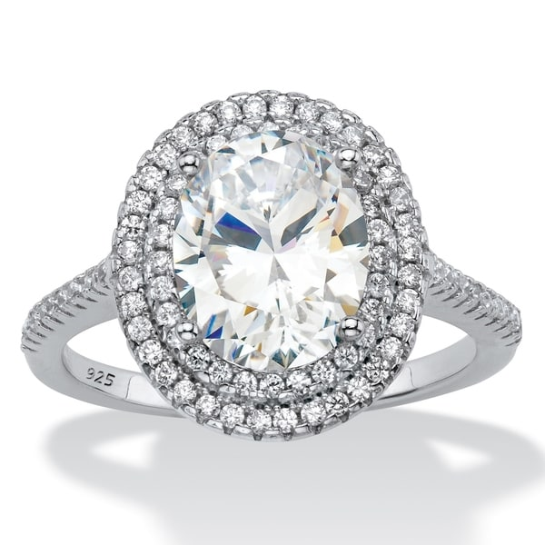 Shop Platinum Over Sterling Silver Cubic Zirconia Halo