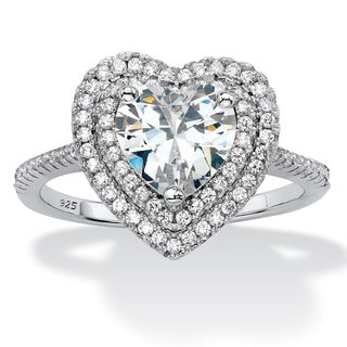 1.48 TCW Heart CZ Platinum/Silver Halo Ring