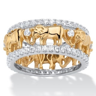 1.40 TCW CZ Gold-Plated Elephant Ring