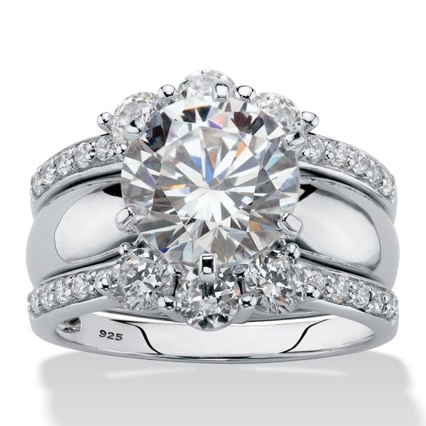 4.66 TCW CZ 2-Piece Jacket Wedding Ring Set