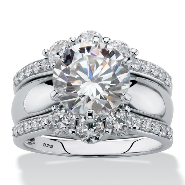 Platinum over Sterling Silver Cubic Zirconia Bridal Ring Set - n/a/White