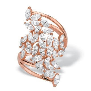 Rose Gold-plated Sterling Silver Cubic Zirconia Cluster Bypass Ring - White
