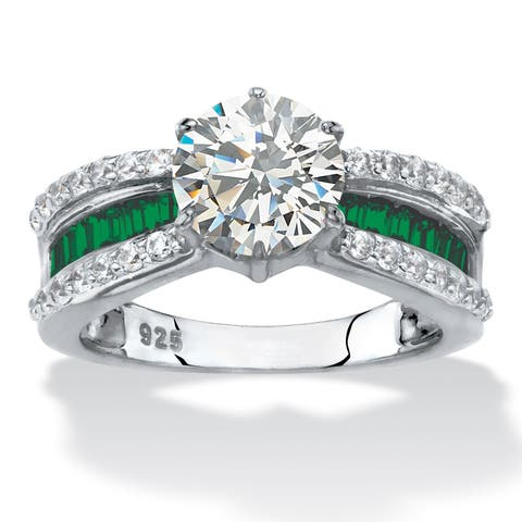Platinum over Sterling Silver Cubic Zirconia Engagement Ring - Green/White