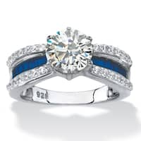 2.36 TCW CZ and Blue Crystal Platinum/Silver Ring