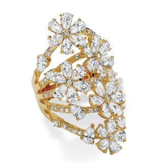 8.89 TCW CZ Gold-Plated Flower Cocktail Ring