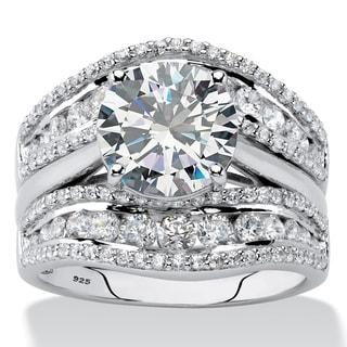 4.27 TCW CZ Platinum/.925 Jacket Wedding Ring Set