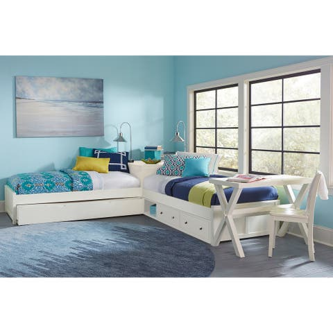 Hillsdale Pulse White L-Shape Bed with storage and trundle