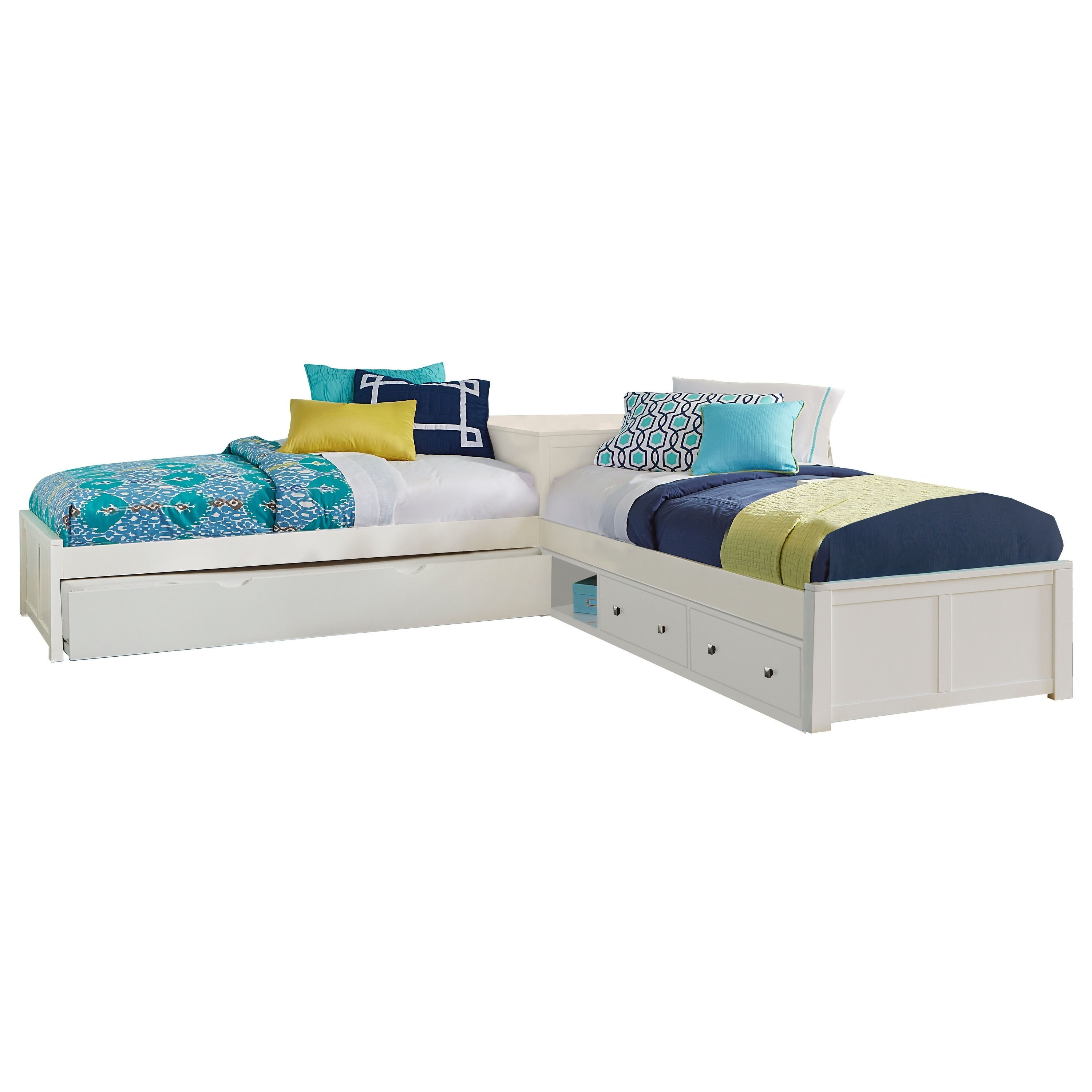 Hillsdale Pulse White L Shape Bed With Storage And Trundle Overstock 18692478