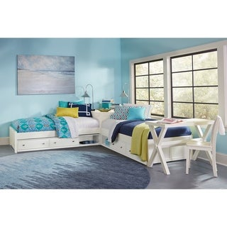Hillsdale Pulse L-Shape Bed with Double Storage, White