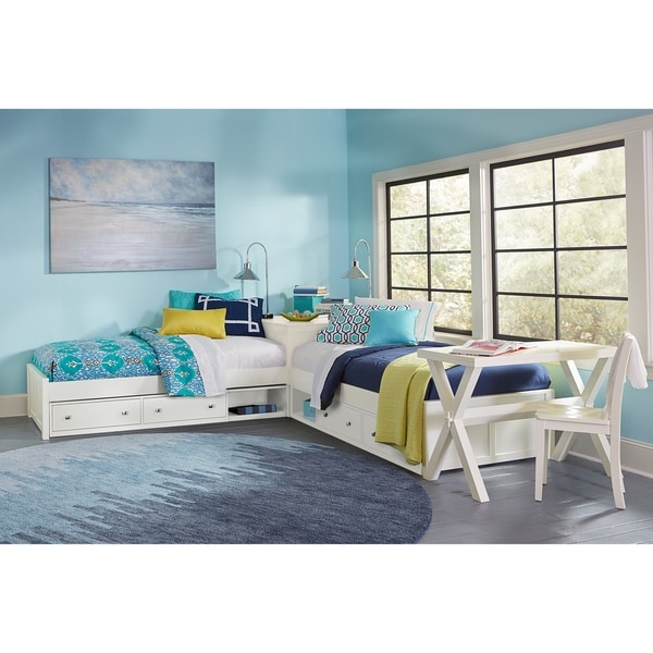 Hillsdale Pulse L-Shape Bed with Double Storage, White. Opens flyout.