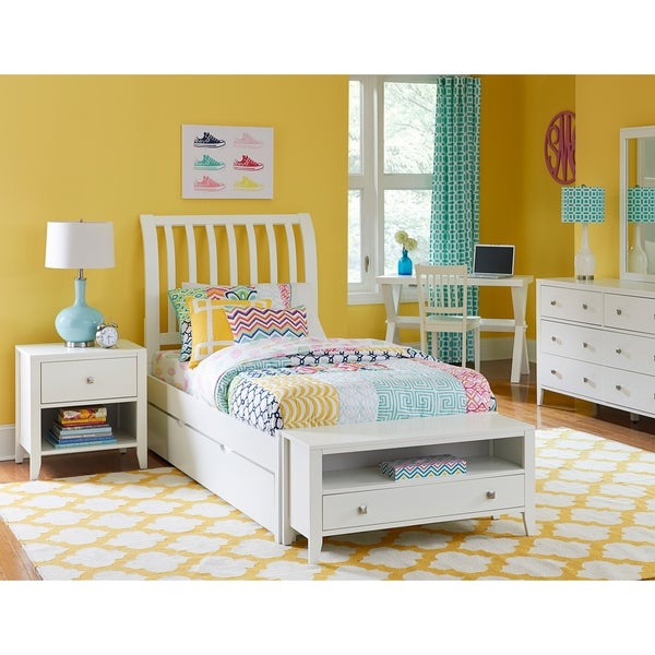 Hillsdale Pulse Full Rake Sleigh Bed with Trundle , White