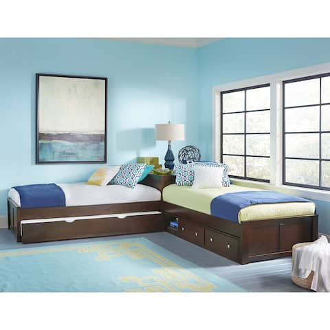Hillsdale Pulse L-Shape Bed with Storage and Trundle, Chocolate