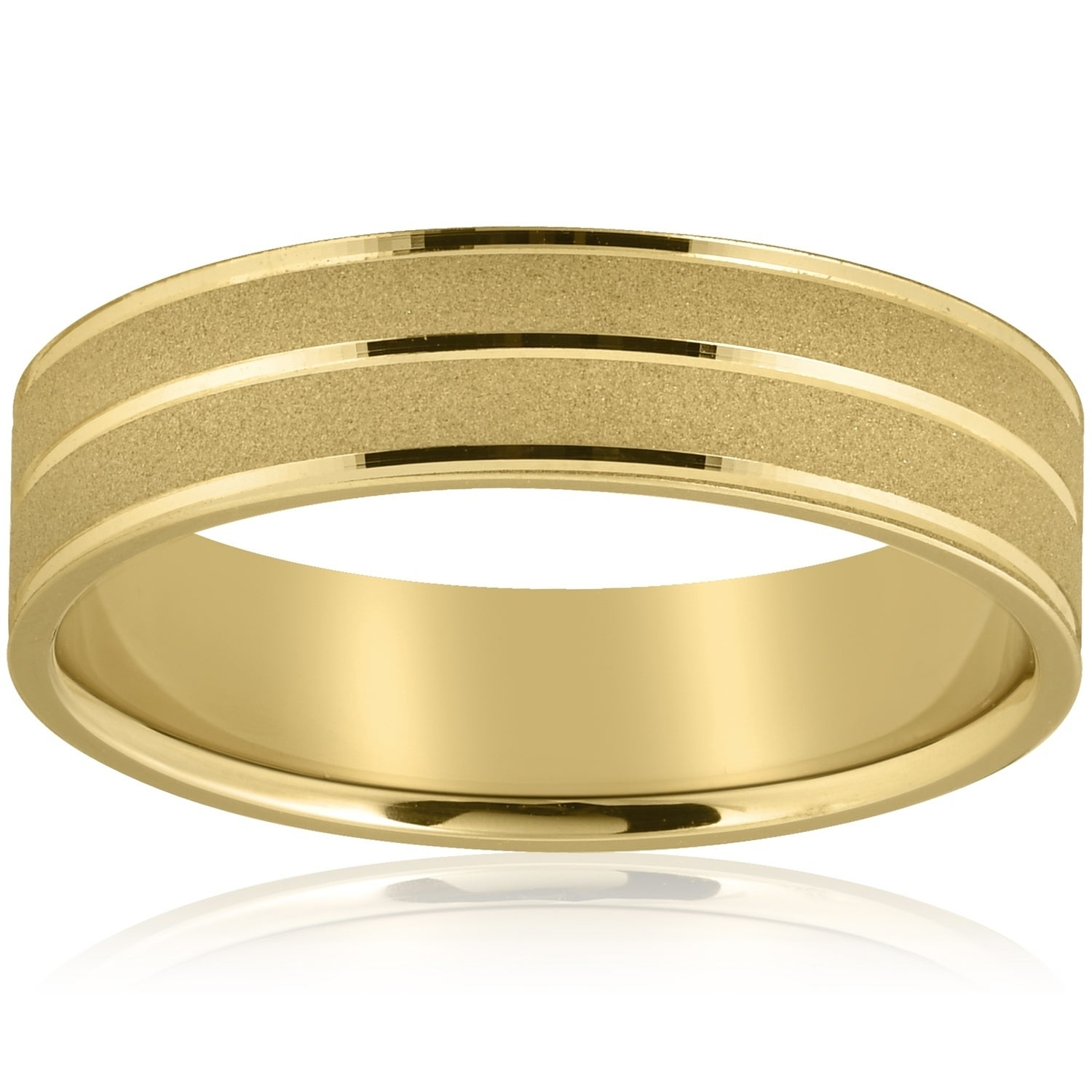 This is a graphic of Pompeii42 42k Yellow Gold Mens Wedding Ring 42mm Wide Flat Band