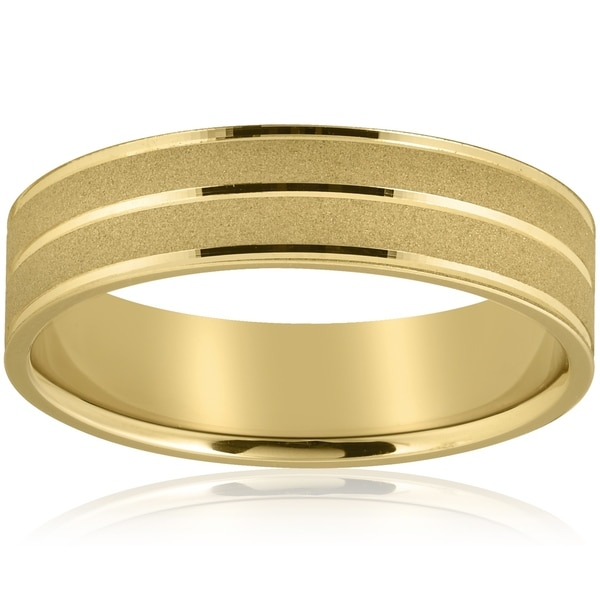 Shop Bliss 14k Yellow Gold Mens Wedding Ring 6mm Wide Flat Band On