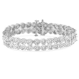 Sterling Silver 2ct TDW Rose-Cut Diamond 2-Row Link Bracelet (I-J,I3 PROMO)