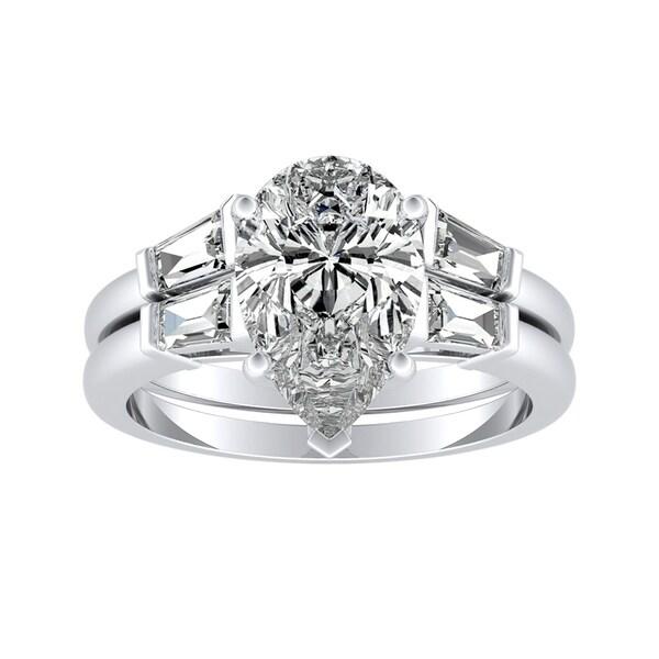 Auriya 2 1/2ctw Pear-cut Diamond Engagement Ring Set Platinum Certified
