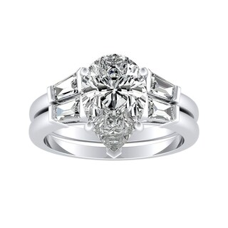 Platinum 2 1/2ct TDW Certified Pear Shaped and Baguette Diamond Engagement Ring Set by Auriya - White