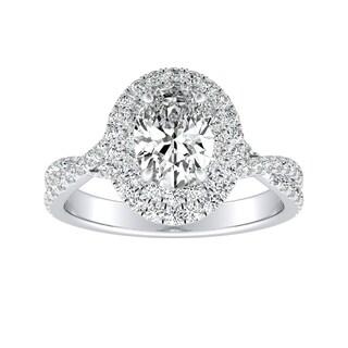 Auriya 14k Gold 4/5ct TDW Oval-cut Diamond Twisted Split Shank Double Halo Engagement Ring - White H-I