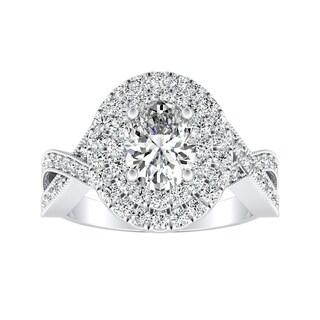 Auriya 14k Gold 1ct TDW Oval-cut Diamond Double Halo Engagement Ring - White H-I