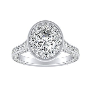 Auriya 14k Gold 1 1/2ct TDW Oval-cut Diamond Halo Engagement Ring - White H-I
