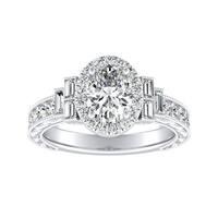 Auriya Vintage Art Deco 1 1/2ct TDW Oval Diamond Halo Engagement Ring 14k Gold GIA Certified