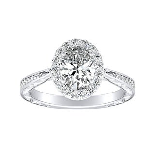 Auriya 14k Gold GIA Certified 7/8ct TDW Oval-cut Diamond Halo Engagement Ring - White H-I