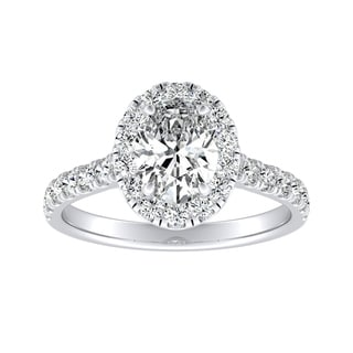 Classic Oval Cut 1 5 8cttw Halo Diamond Engagement Ring 14k Gold By Auriya