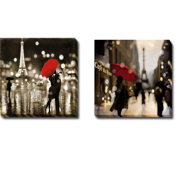 'A Paris Kiss' and 'A Paris Stroll' by Kate Carrigan 2-piece Gallery-wrapped Canvas Giclee Art Set