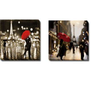 A Paris Kiss and A Paris Stroll by Kate Carrigan 2-piece Gallery-Wrapped Canvas Giclee Art Set