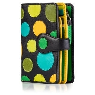Visconti-P1-Saturn-Ladies-Soft-Leather-Large-Bifold-Wallet-Purse-with-Polka thumbnail 12