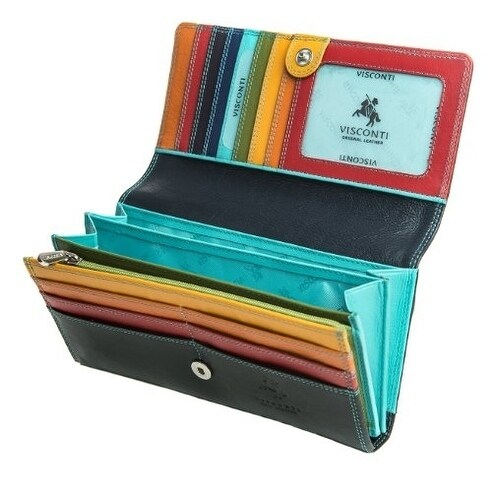 Visconti Spectrum 36 Ladies Large Soft Leather Checkbook Wallet Purse