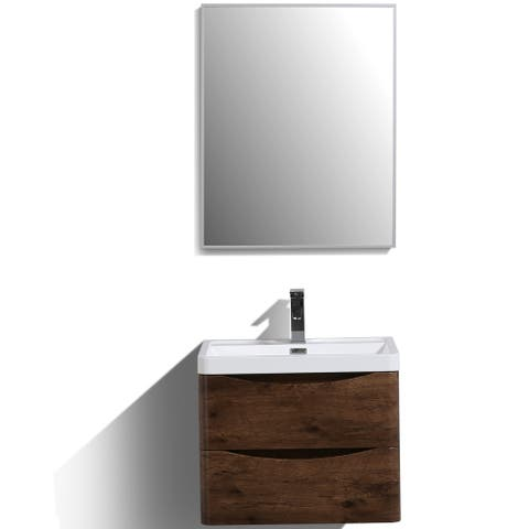 Eviva Smile 24 inch Rosewood Wall Mount Modern Bathroom Vanity with White Integrated Acrylic Top