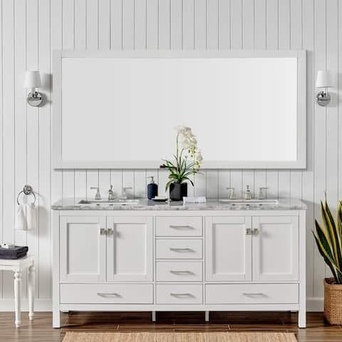 "Eviva Aberdeen 84"" White Transitional Double Sink Bathroom Vanity w/ White Carrara Top"